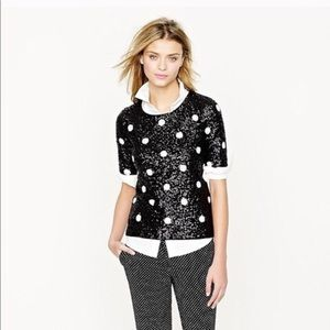 J Crew Black Polka Dot Sequin Top L 28614 D201